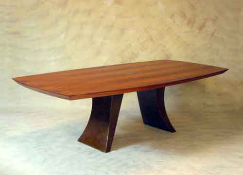 Swoop Koa Wood And Bronze Dining Table